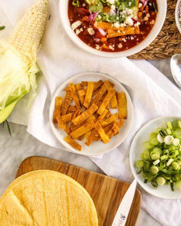 Crunchy Garlic Tortilla Strips