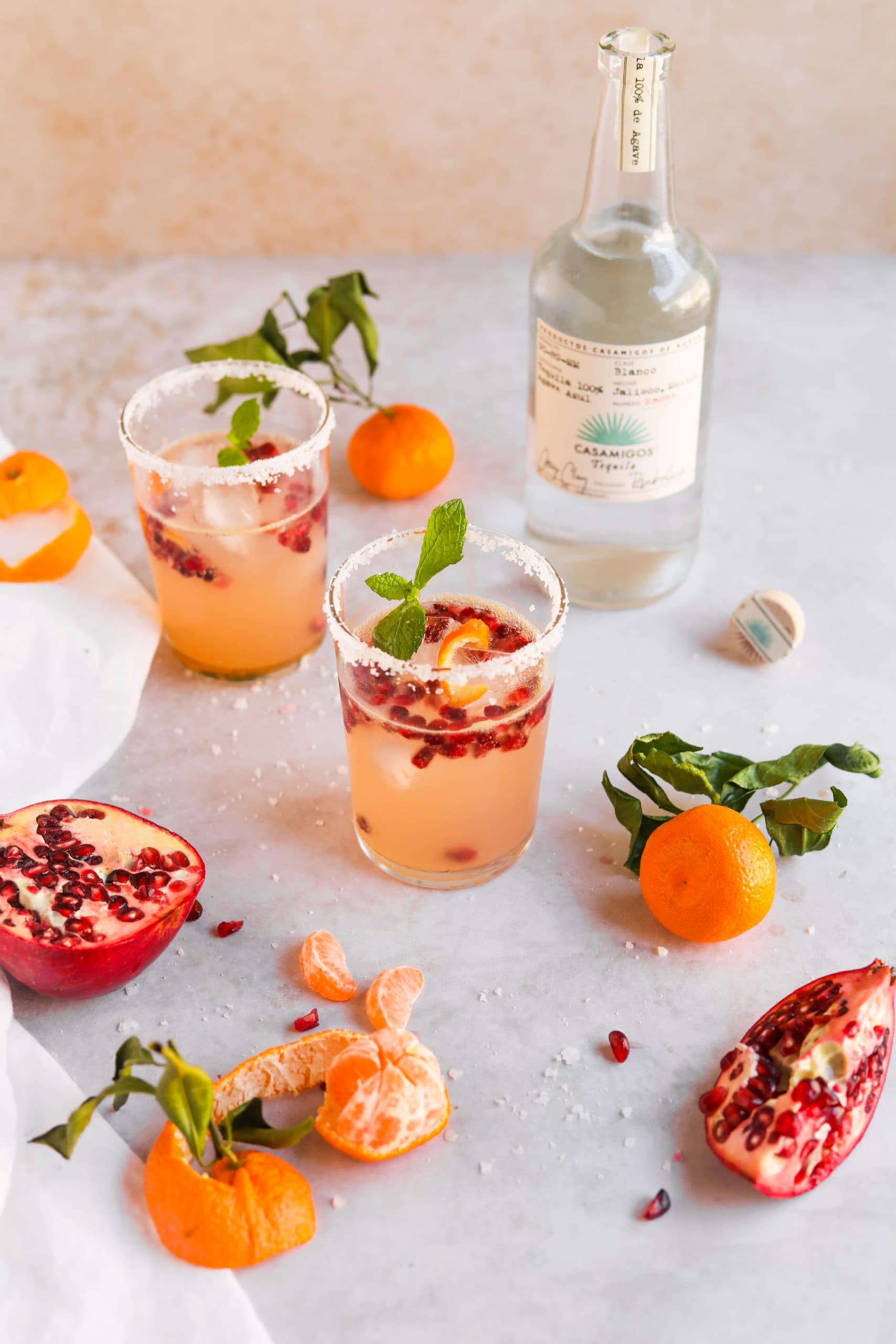 Satsuma Pomegranate Paloma with Fresh Fruit - The Heirloom Pantry