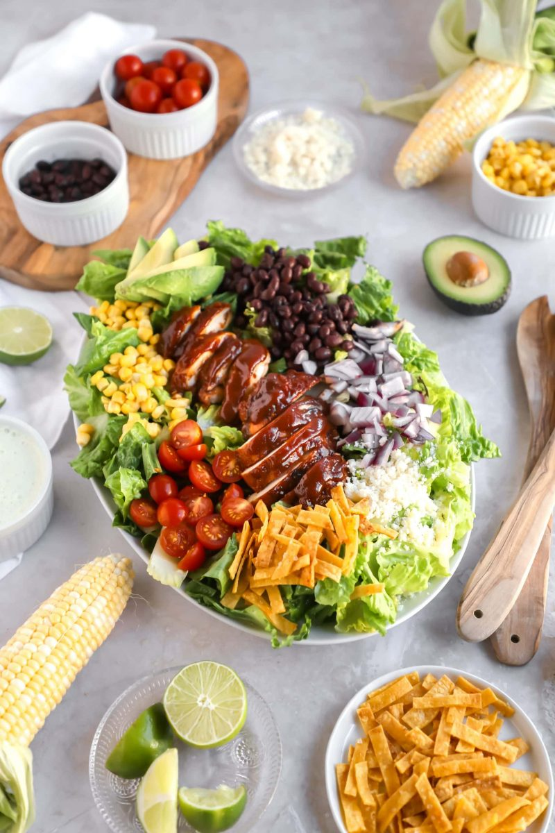 BBQ Chicken Salad with Broiled Chicken and Greek Yogurt Ranch in a white oval platter