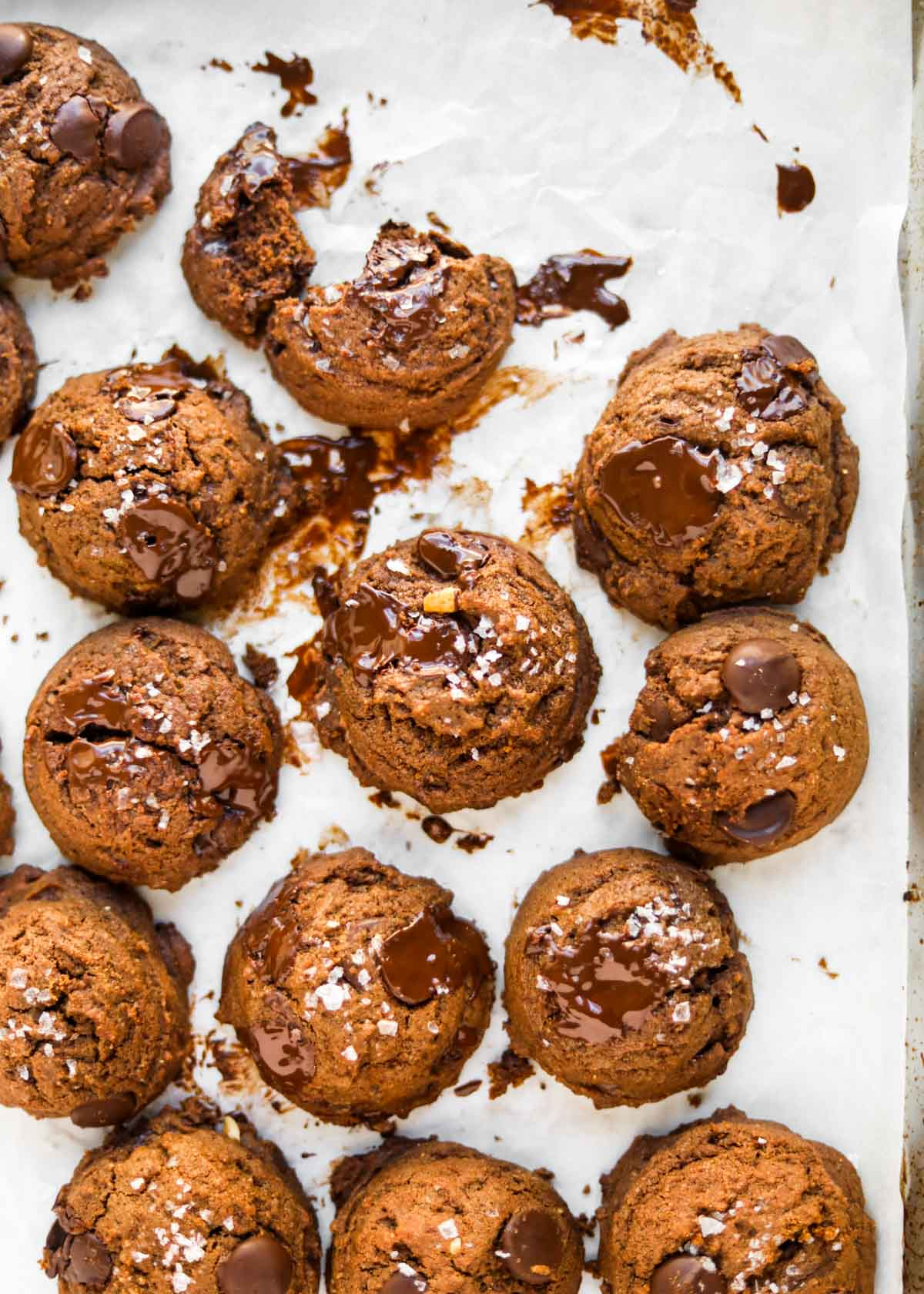 Salted Double Chocolate Peanut Butter Cookies flatlay.